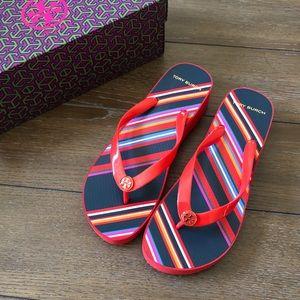 Authentic Tory Burch wedge sandal sz 9 VEUC